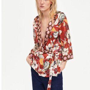 Zara Floral Polka Dot Kimono Wrap Top - Red, Large